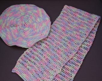 Set of beret and cowl for girls 3/6 months