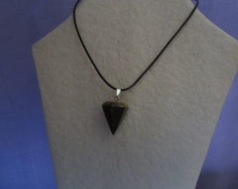 Stone pyramid Tiger eye and black leather necklace