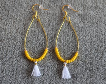 Golden mustard yellow beads and white tassel Stud Earrings