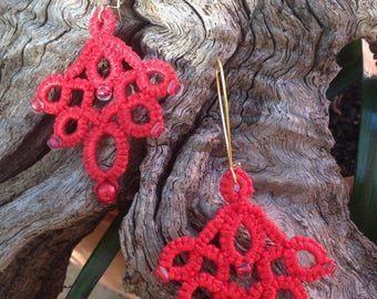 Bright red cotton tatted lace earrings and glass bead earrings