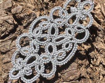 Adjustable silver metal wire tatting lace Cuff Bracelet