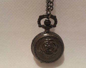 Pocket Watch necklace pink