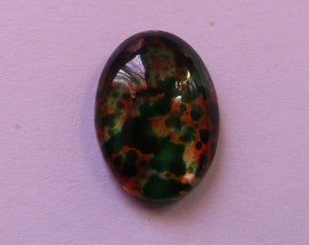 oval glass cabochon 18mm * 13mm transparent mottled green orange