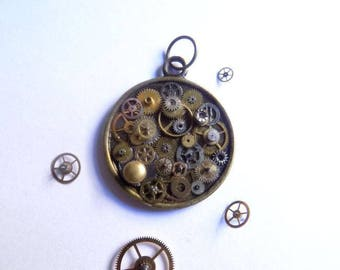 Steampunk gears, bronze and silver pendant