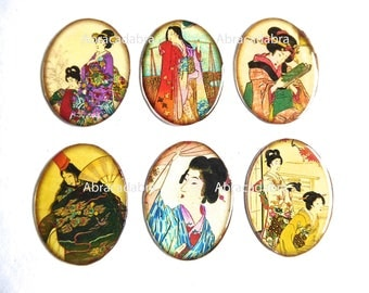 6 cabochons Asian theme silicone on white cardstock 30 x 40 mms