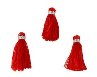 3 Red PomPoms in textile dimension: 22x10mm