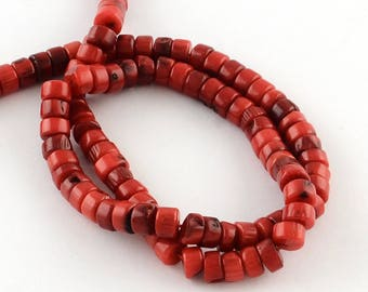 5 red coral beads natural size 6 ~ 7 x 3 ~ 4 mm, hole: 1 mm