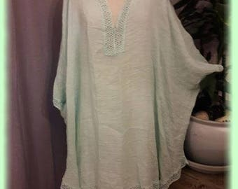 Shabby green water washed linen and lace tunic dress