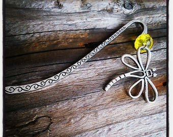 Silver charm bookmark has yellow facet beads and Dragonfly