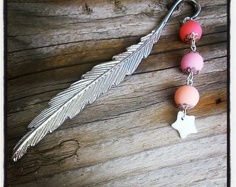 Silver feather bookmark pink pearls and Star