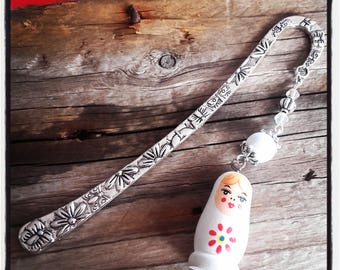 Silver Flower bookmark / Russian doll charm and Butterfly / Pearl White