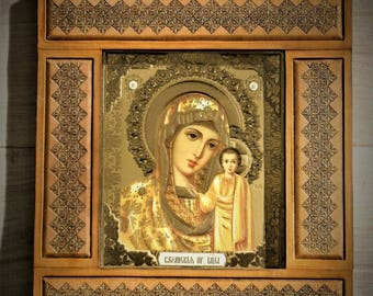 Frame leather tooled and embossed icon Orthodox religious Virgin Madonna with child Christian Christmas