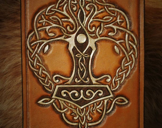 Birthday greeting card mini table tooled leather Viking Mjölnir yggdrasill