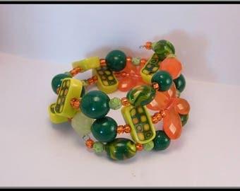 Bracelet mémoire perles Fimo