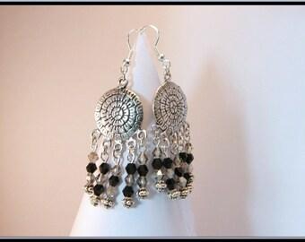 Earrings black and gray swarovski crystal beads.