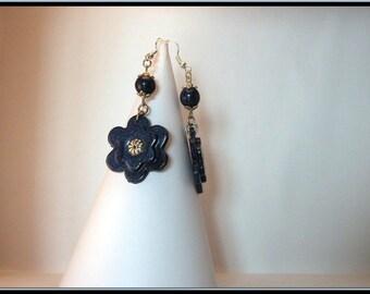 Blue Metallic polymer clay flower earrings.