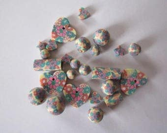 set of polymer clay beads various flowers