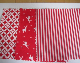 Set of 3 matching fabric red 15x15cm coupons