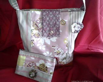 Bag ticking and floral fabric with a pouch by Mary j designs