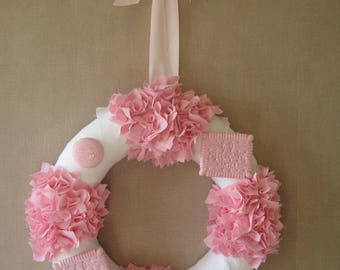 Free shipping! decorative wreath pink and white