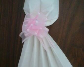 Napkin folding wedding bridal dress