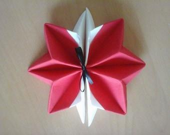 Star Red and White Snowflake napkin folding