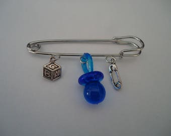 BROOCH - Safety - blue lollipop pin