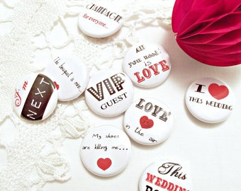 "Set of 9 mini badges 25 mm / wedding ""Rock""."