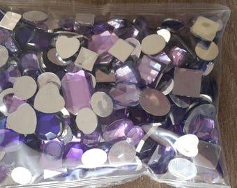 Round purple rhinestone square rectangle oval hearts