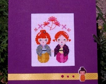 Hand embroidered card: Red kokeshis Duo