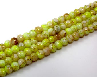 Set of 25 beads 4 mm glass effect marbe yellow