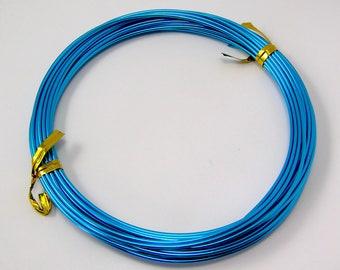Wire aluminum blue cyan diameter 1.5 mm reel 6 meters