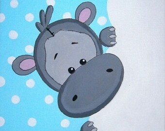 the small Hippo canvas 20x20cm acrylic personalized with child's name