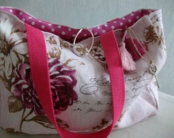 Pink linen tote bag with purple flowers