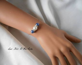 """Azure"" bracelet with Pearl & Royal Blue beads"