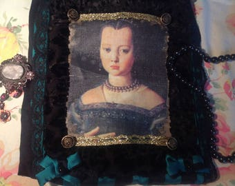 Emerald and black striped silk with portrait of Princess pouch