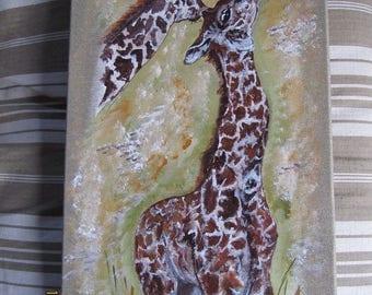 couple of giraffes on linen canvas frame