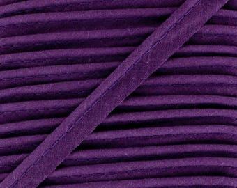 Purple / plain cotton piping 10mm wide, cut 50 cm