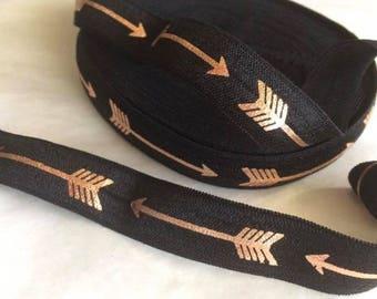 Black ARROW / elastic / Headband width 15mm, cut 50 cm