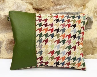 Bag jacquard houndstooth multi color green