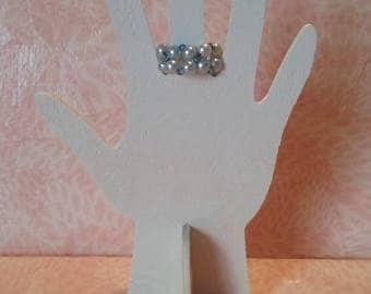 Ring beaded - Pastel blue wedding ring