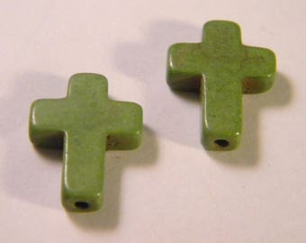 5 pearls synthetic cross howlite - howlite-green - 16 mm AC27
