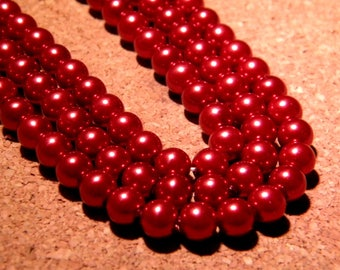 30 pearls Pearly iridescent glass 6 mm - Red Metallic PF128 4
