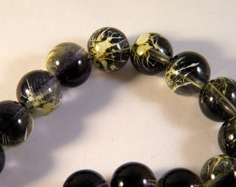 10 trefilee 12 mm black and beige glass beads
