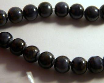 10 black PV30 speckled dark gray 10 mm glass beads