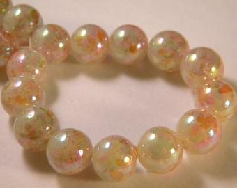 10 pearls iridescent Rainbow - beige translucent glass - 12 mm - PE63
