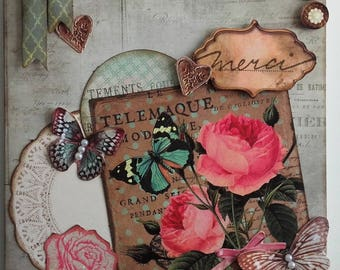 vintage/shabby double card set or individually