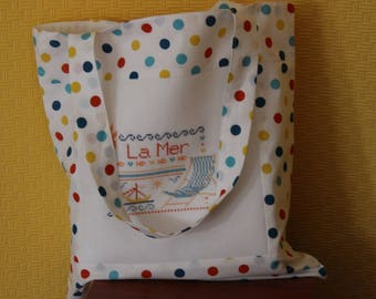 Handmade tote bag fabric and embroidered with multicolored dots