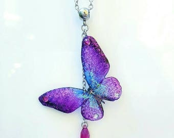 """Blue-fuchsia"" butterfly pendant necklace resin glitter"
