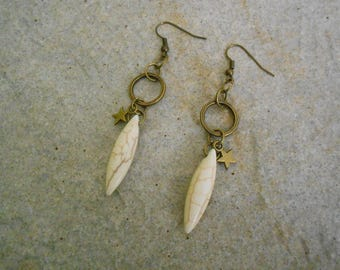 natural stone long earrings